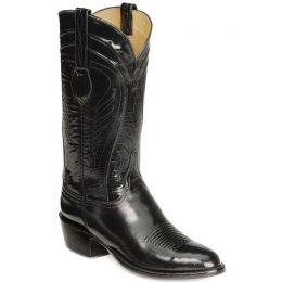 L1508-63 Classic Black Goatskin 12inch Shaft Round Toe Lucchese Mens Western Cowboy Boots