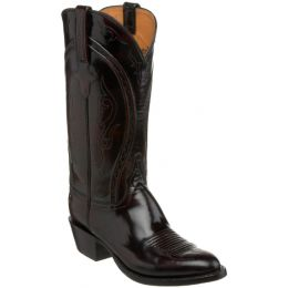 L1509-63 Black Cherry Brush Off Goat Exotic Lucchese Mens Cowboy Boots