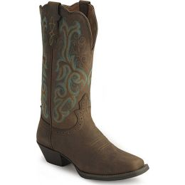 L2552  Distressed Brown Square Toe Justin Womens Western Cowboy Boots