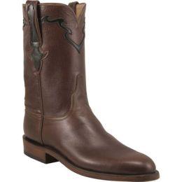 L3555 Dark Brown Baby Buffalo Calf 10inch Roper Lucchese Mens Western Cowboy Boots
