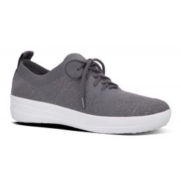 Fit Flop Charcoal/Metallic F-Sporty Uberknit Comfort Womens Sneakers L40-551