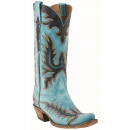 L4727.S54 Destroyed Blue Goat Lucchese Womens Western Cowboy Boots