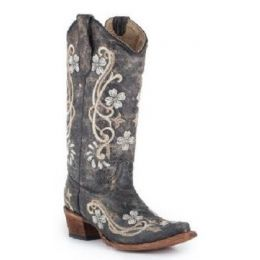 Corral Black/Multi Color Flora Embroidery Womens Western Boots L5175
