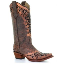 Corral Circle G Shedron Black Embroidered Womens Snip Toe Western Boots L5368