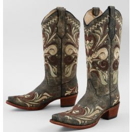 Corral Brown Distressed Leather Western Womens Boots L5438