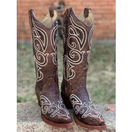 Corral Women's Brown Boot with Black & Ivory Stitch Pattern L5535