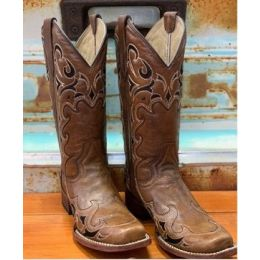 Corral Women's Brown Boot with Black & Ivory Stitch Pattern L5557