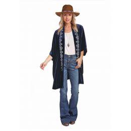 Panhandle Slim White Label Blue Velvet Kimono L9-3728