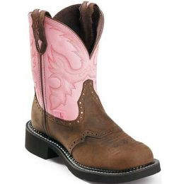 L9901 Brown/Pink 8 inch Shaft Justin Womens Western Cowboy Boots