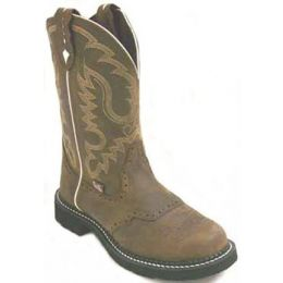 L9909 Brown Aged Bark 11 Inch Pull On Justin Womens Cowboy Boots