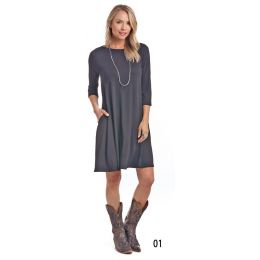 Panhandle Slim White Label Black 3/4 Sleeve Dress L9D-3735