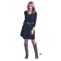 Panhandle Slim White Label Black 3/4 Sleeve Dress L9D6459