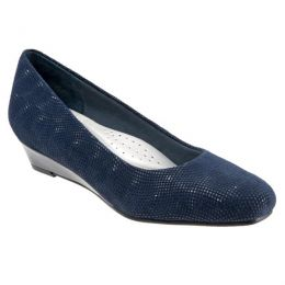 T1110-419 LAUREN Navy 3D Patent Slip-On Dress Wedge Trotters Ladies Shoes