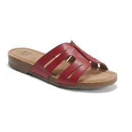 Earth Bright Red Lyndon Leah Womens Slide On Sandals