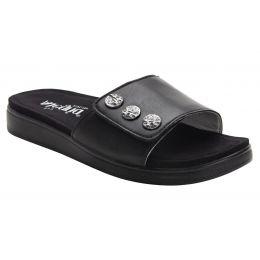 Alegria Black Lilie Womens Adjustable Strap Slide On Sandals LIL-601