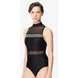 Lulli Black/Black Lia Women Embroidered Mesh Mock Neck Leotard LUF589
