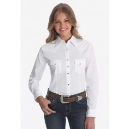 Ladies Wrangler Long Sleeve Snap White Western Shirt LW1001W