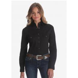 Ladies Wrangler Long Sleeve Solid Snap Black Western Shirt LW1002X