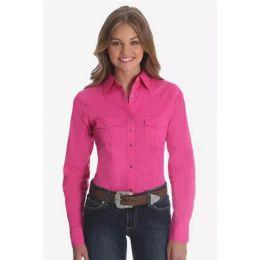Ladies  Wrangler Long Sleeve Solid Pink Western Snap Shirt LW1003K