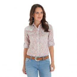 Wrangler Pink Multi Three Quarter Sleeve Snap Womens Shirt LW2039M