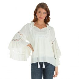 Wrangler Ivory Long Sleeve Womens Peasant Top LW2048M