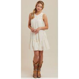 Wrangler Ivory Sleeveless Crochet Bodice Womens Dress LWD106N
