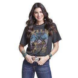 Wrangler Washed Black Relaxed Fit Graphic Womens T-shirt LWK852X