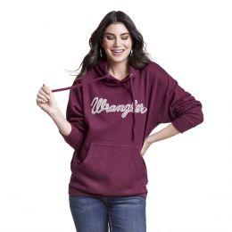 Wrangler Maroon Womens Comfort Logo Hoodie LWK898R