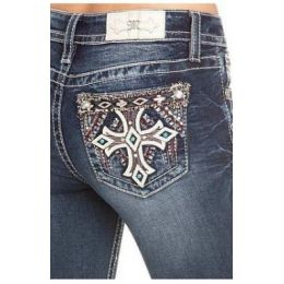 Miss Me Dark Wash Turquiose Cross Womens Bootcut Jeans M3437B