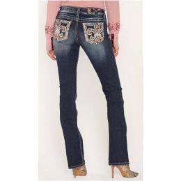 Miss Me Jeans Women's Dark Wash Floral Fleur Bootcut Jeans M3455B
