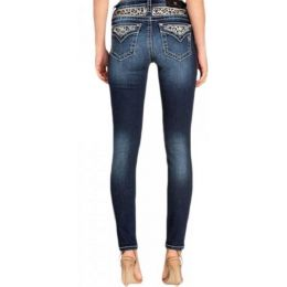 Miss Me Women's Dark Wash Leopard Faux Flap Skinny Jean M3480S