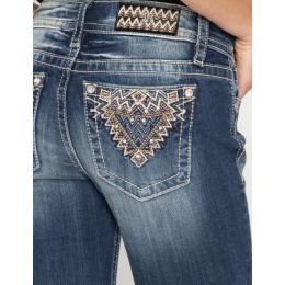 Miss Me Abstract Diamond Bootcut Jeans M3542B
