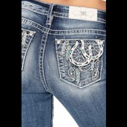 Miss Me Blue Double Horseshoe Hybrid Chloe Women's Bootcut Jeans M3757B