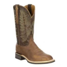 Lucchese Tan/Chocolate Rudy Mens Horseman Barn Work Boots M4091.WF
