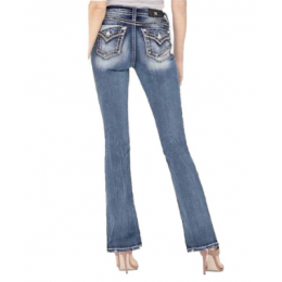 Miss Me Big Border Stitch with Reversed Denim Piecing Flap Boot Cut Jeans M5014B355