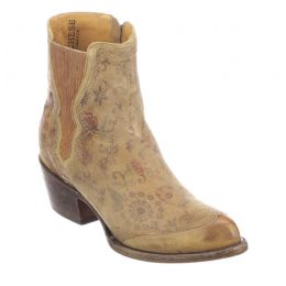 Lucchese Tan Floral Print Gia Womens Short Western Boots M5061