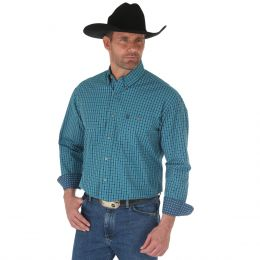 Wrangler George Strait Navy/Turquoise Long Sleeve Buttondown Mens Western Shirt MGSB522