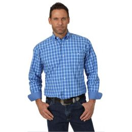 Wrangler Royal Blue George Strait Mens Long Sleeve Shirt MGSB695