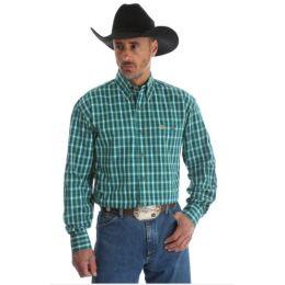 Wrangler George Strait Green Plaid Long Sleeve Buttondown Mens Shirt MGSG405