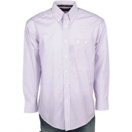 Wrangler by VF Jeanswear George Straight, Purple and White Print Button Down Mens Shirt MGSP539