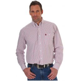 Wrangler George Strait White/Red Long Sleeve Poplin Plaid Shirt MGSR437