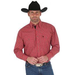 Wrangler George Strait Red/Black Long Sleeve Buttondown Mens Western Shirt MGSR533