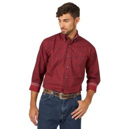 Wrangler Burgundy/Black Groege Strait Mens Long Sleeve Shirt MGSR721