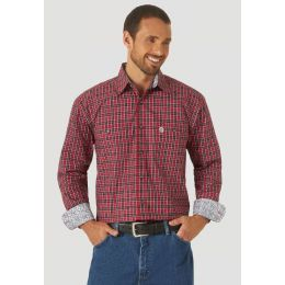 Wrangler Red/Black George Strait Long Sleeve Button Down Mens Shirt MGSX818