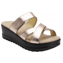 Alegria Rose Gold Mira Womens Adjustable Strap Slide On Sandals MIR-106