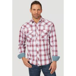 Wrangler Red/Teal 20X Comfort Long Sleeve Two Pocket Western Mens Snap Plaid Shirt MJC277R