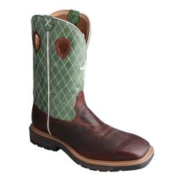 Twisted X Cognac Glazed Pebble/Lime Mens Lite Western Work Boot MLCW002