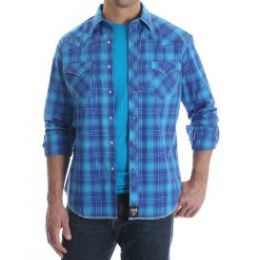 Wrangler by VF Jeanswear Rock 47 Turquoise and Royal Blue Plaid Snap Up Mens Shirt MRC339M