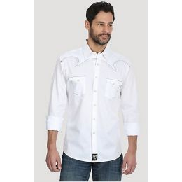 Rock 47 by Wrangler White Men's Long Sleeve Western Snap Tonal Solid Shirt MRC376W