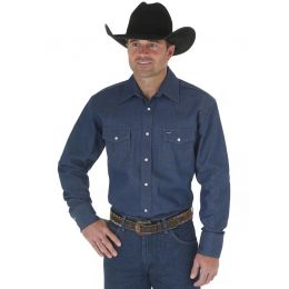 Wrangler Men's Authentic Cowboy Cut  Denim Work Shirt - MS70119